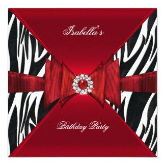 """Diamante negro rojo de cumpleaños de la cebra invitación 5.25"""" x 5.25"""""""