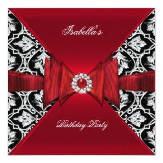 """Diamante negro rojo de cumpleaños del damasco invitación 5.25"""" x 5.25"""""""
