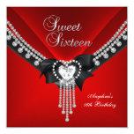 Diamante negro rojo de la fiesta de cumpleaños 16 invitaciones personales