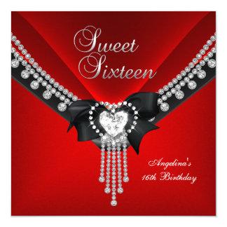 """Diamante negro rojo de la fiesta de cumpleaños 16 invitación 5.25"""" x 5.25"""""""