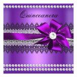 Diamante púrpura del cordón de la perla del negro  invitaciones personales