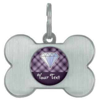 Diamante púrpura placa de mascota