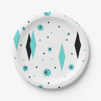 Diamante retro de la turquesa y placas de papel de plato de papel de 7 pulgadas