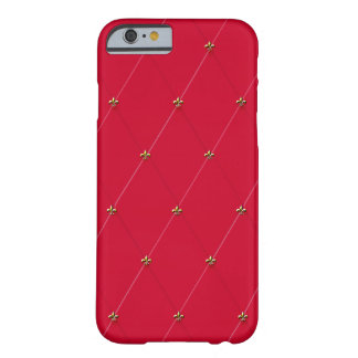 Diamante rojo con las flores de lis del oro funda para iPhone 6 barely there