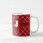 Diamante rojo con monograma tazas