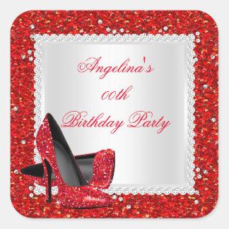 Diamante rojo de la fiesta de cumpleaños de los pegatina cuadrada