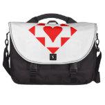 Diamante rojo del corazón bolsas para portatil