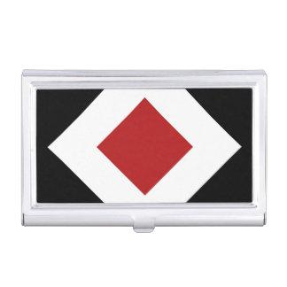Diamante rojo, frontera blanca intrépida en negro caja de tarjetas de presentación