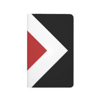 Diamante rojo, frontera blanca intrépida en negro cuaderno grapado