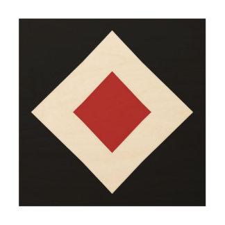 Diamante rojo, frontera blanca intrépida en negro impresiones en madera