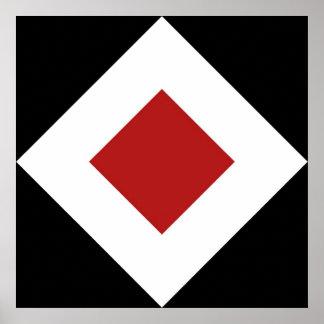 Diamante rojo, frontera blanca intrépida en negro póster