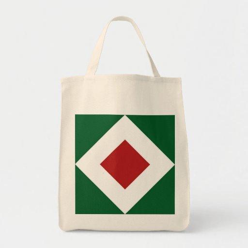 Diamante rojo, frontera blanca intrépida en verde bolsa tela para la compra