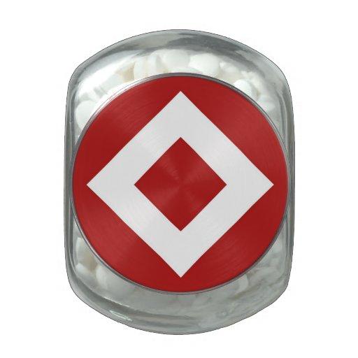 Diamante rojo, frontera blanca intrépida frascos cristal