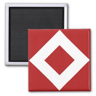 Diamante rojo, frontera blanca intrépida imán cuadrado