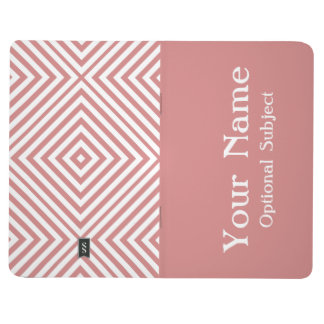 Diamante rosado Chevron con el texto adaptable Cuaderno