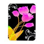 Diamante rosado de los tulipanes como chispa de la imán
