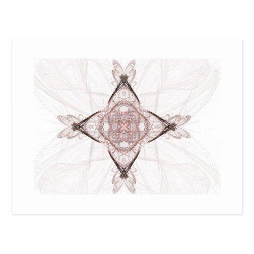 Diamante rosado del arte del fractal postales