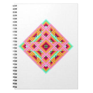 Diamante rosado, rojo, anaranjado, y verde del edr libro de apuntes con espiral