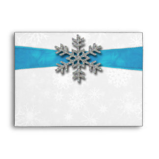 Diamante Snowflake & Blue Ribbon Winter Wedding Envelope