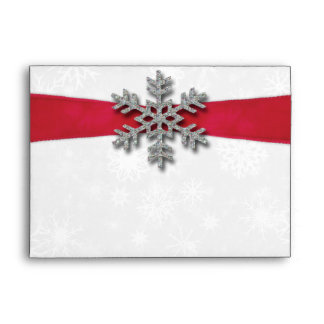 Diamante Snowflake & Red Ribbon Winter Wedding Envelope