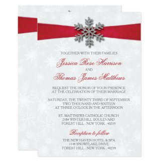 Diamante Snowflake & Red Ribbon Winter Wedding Invitation