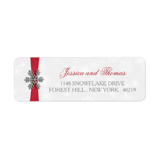 Diamante Snowflake & Red Ribbon Winter Wedding Label