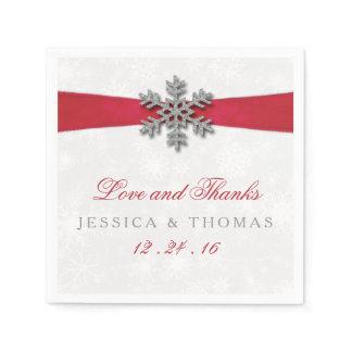 Diamante Snowflake & Red Ribbon Winter Wedding Napkin