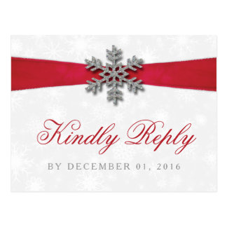 Diamante Snowflake & Red Ribbon Winter Wedding Postcard