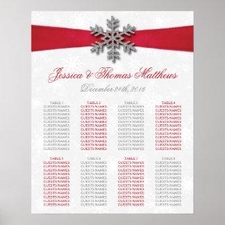 Diamante Snowflake & Red Ribbon Winter Wedding Poster