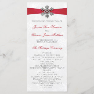 Diamante Snowflake Red Ribbon Winter Wedding Program