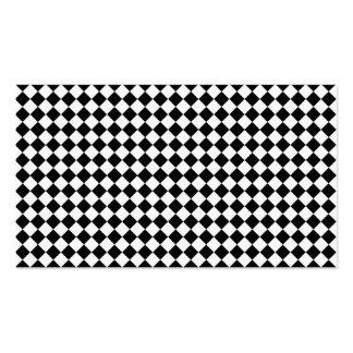 Diamante-Tablero de damas blanco y negro Tarjetas Personales