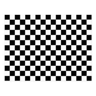 Diamante-Tablero de damas blanco y negro Tarjetas Postales