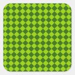 Diamante-Tablero de damas verde de la combinación Calcomanías Cuadradass Personalizadas