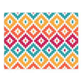 Diamante tribal azteca anaranjado Pattrn de Ikat Tarjetas Postales