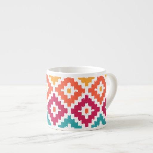 Diamante tribal azteca anaranjado Pattrn de Ikat Tazitas Espresso