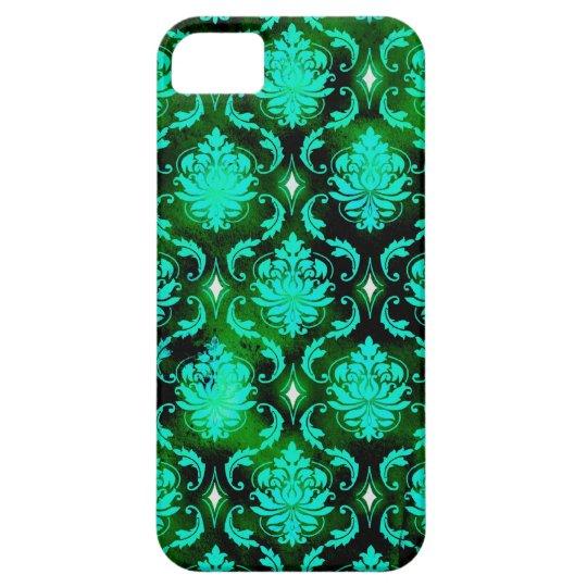 Diamante verde de la aguamarina del vintage de la funda para iPhone SE/5/5s