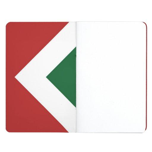 Diamante verde, frontera blanca intrépida en rojo cuaderno grapado