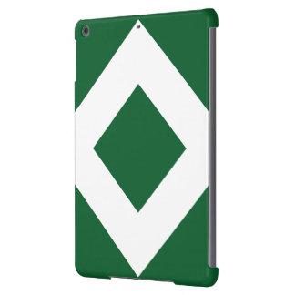 Diamante verde, frontera blanca intrépida funda para iPad air