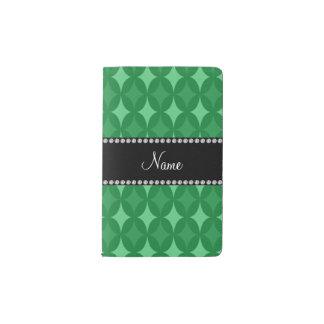 Diamante verde retro conocido personalizado del funda para libreta y libreta pequeña moleskine