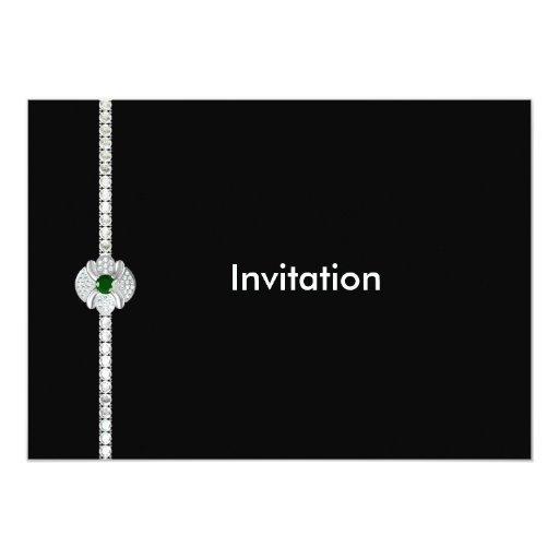 Diamante y esmeralda invitación 12,7 x 17,8 cm