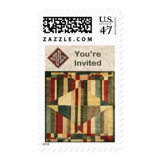 Diamante y las rayas del mosaico de la alfombra le sello postal