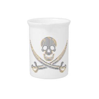 diamante y perlas del oro del cráneo del pirata de jarron