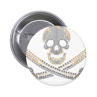 diamante y perlas del oro del cráneo del pirata de pin redondo de 2 pulgadas