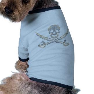diamante y perlas del oro del cráneo del pirata de camiseta con mangas para perro