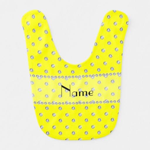 Diamantes amarillos de neón conocidos personalizad baberos