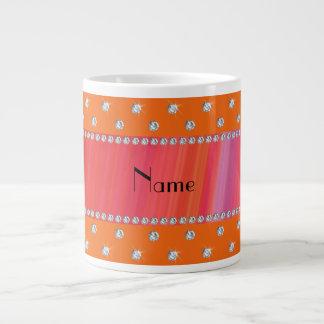 Diamantes anaranjados conocidos personalizados taza grande