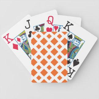 Diamantes anaranjados en blanco barajas de cartas