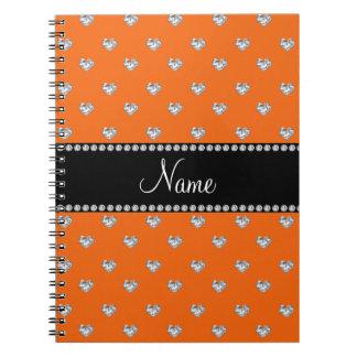 Diamantes anaranjados personalizados del corazón cuaderno