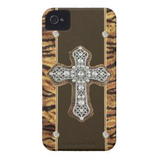 Diamantes artificiales de la piel animal y un CASO iPhone 4 Cobertura