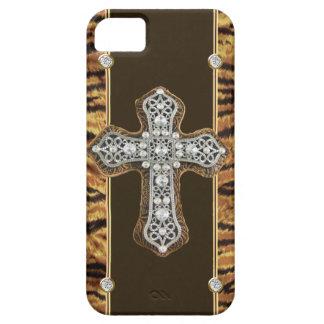 Diamantes artificiales de la piel animal y un CASO iPhone 5 Funda